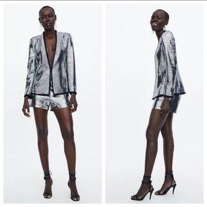 NWOT. Zara Silver Shimmery Blazer. Size S.